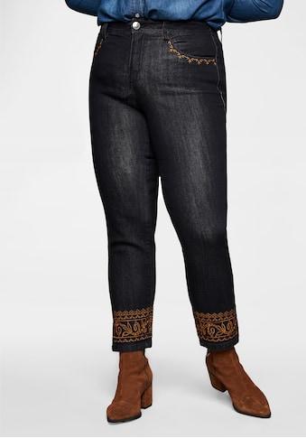 Sheego Stretch-Jeans, »Die Schmale« mit Stickerei an Taschen und Saum kaufen