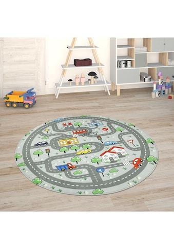 Paco Home Kinderteppich »Chicos 559«, rund, 2 mm Höhe, Straßen-Spielteppich, Kinderzimmer kaufen
