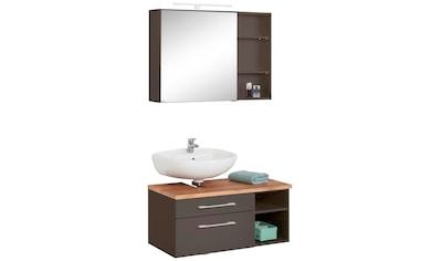 HELD MÖBEL Badmöbel-Set »Davos«, (3 St.), Spiegelschrank mit LED-Beleuchtung,... kaufen