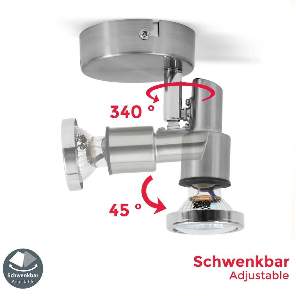 B.K.Licht LED Deckenspot »Aurel 1«, GU10, Warmweiß, LED Wandleuchte Deckenleuchte schwenkbar 5W 400lm 3.000K GU10 IP44 Badezimmerlampe