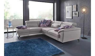 sit&more Ecksofa, 15 cm Fußhöhe, inklusive Sitztiefenverstellung, wahlweise Kopfteilverstellung, wahlweise in 2 unterschiedlichen Fußfarben kaufen