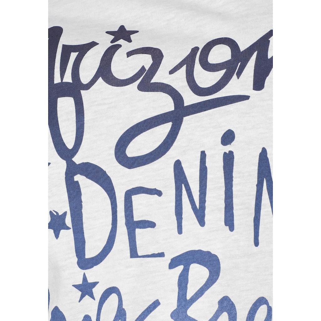 Arizona Rundhalsshirt, mit Logo-Schriftzug
