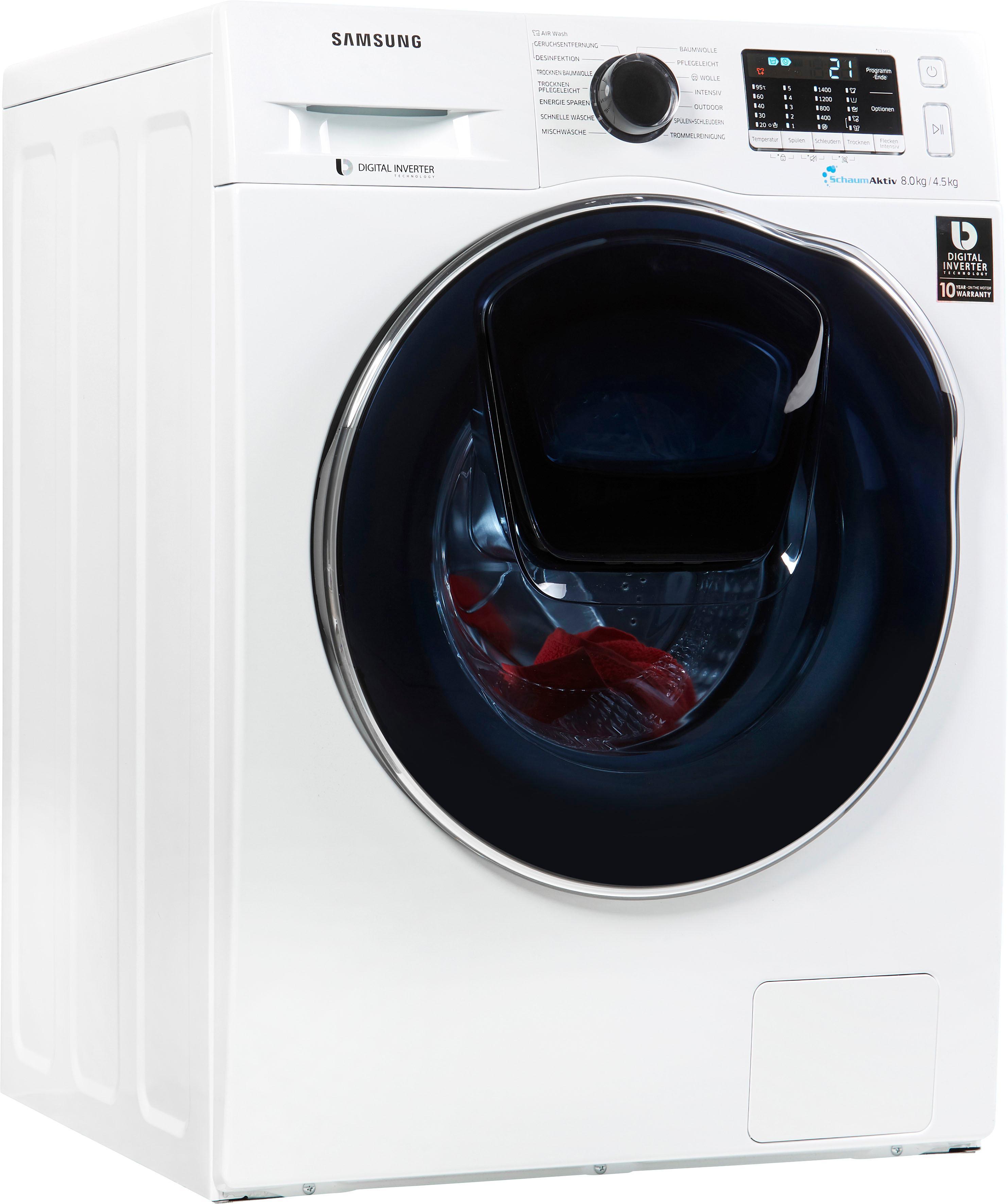 Samsung Waschtrockner AddWash WD5500 WD8EK5A00OW/EG, 8 kg / 4, 5 kg, 1400 U/Min | Bad > Waschmaschinen und Trockner > Waschtrockner | Weiß | Samsung