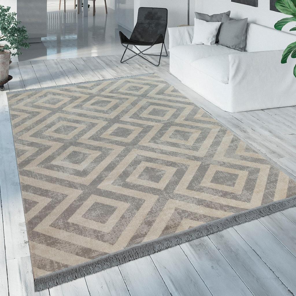 Paco Home Teppich »Poco 821«, rechteckig, 7 mm Höhe, Rauten Design, mit Fransen, In- und Outdoor geeignet, Wohnzimmer