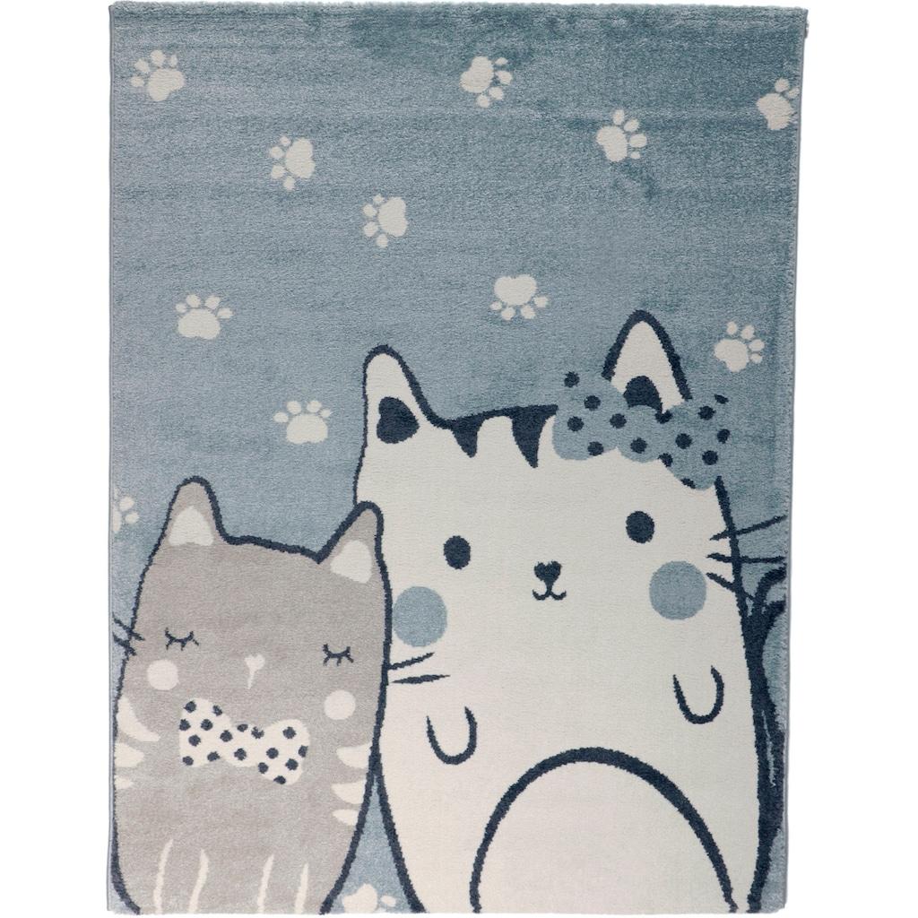 Living Line Kinderteppich »Cats«, rechteckig, 12 mm Höhe, niedliches Katzen Motiv, Kinderzimmer