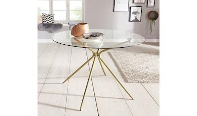 Glastisch »Silvi«, rund, Ø 110 cm, Metallgestell in messingfarben kaufen