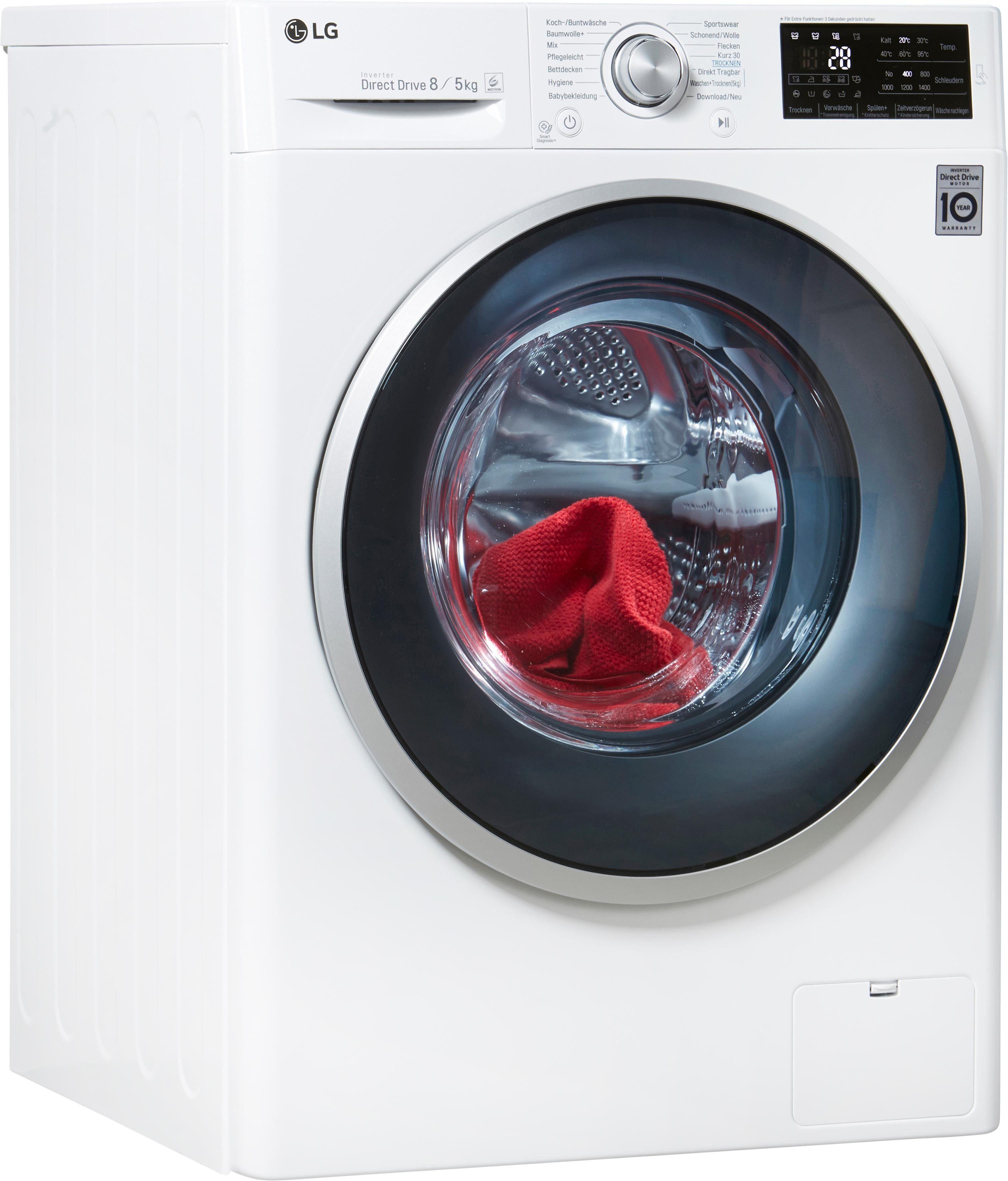 LG Waschtrockner 5 F14WD85TN1, 8 kg / 5 kg, 1400 U/Min