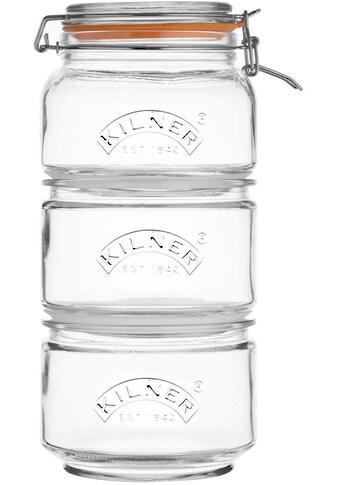 KILNER Vorratsglas, (Set, 3 tlg., 2 x 0,88Liter, 1 x 0,9 Liter) kaufen
