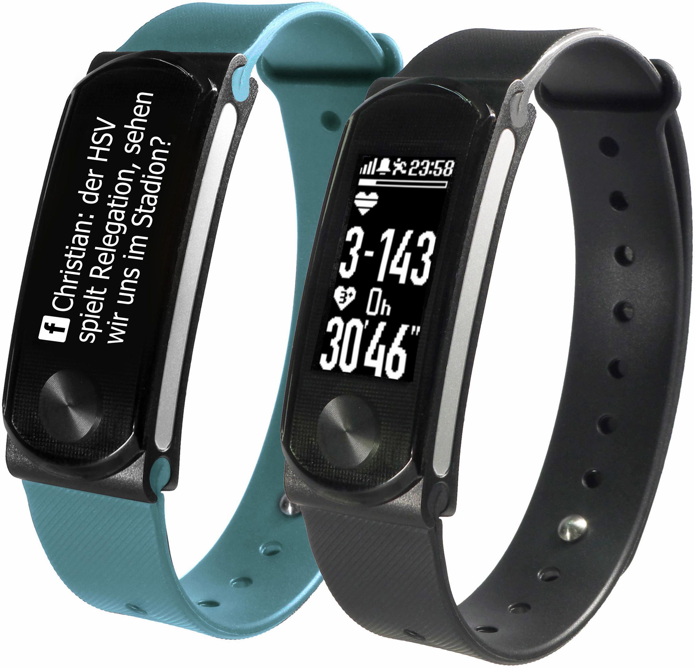 Sportplus Fitness-Armband/Smartwatch, inklusive 2 Armbänder und Herzfrequenzmesser, »Q-Band HR+ SP-AT-BLE-90« | Uhren > Smartwatches | Mehrfarbig | Ab - Denim | SPORTPLUS
