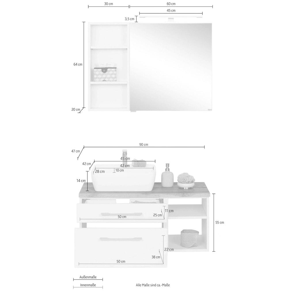 HELD MÖBEL Badmöbel-Set »Davos«, (3 St.), Spiegelschrank, Regal und Waschtisch