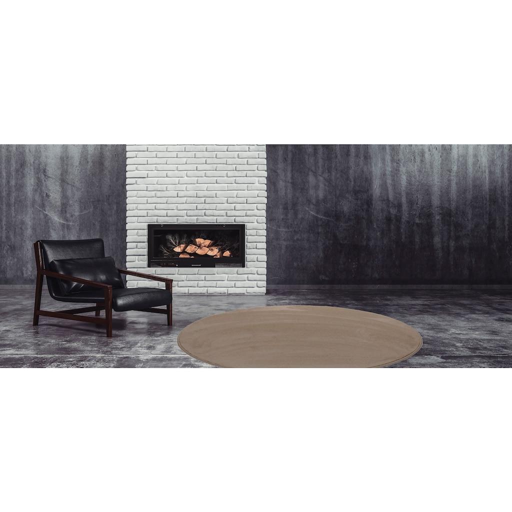Living Line Teppich »Sweety rund«, rund, 15 mm Höhe, Soft Touch Velours, Wohnzimmer