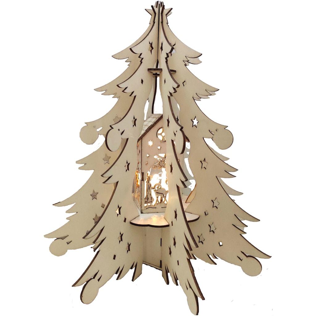 BONETTI LED Dekoobjekt »Holztannenbaum«, Warmweiß, mit beleuchteter Dekoration, Batteriebetrieb