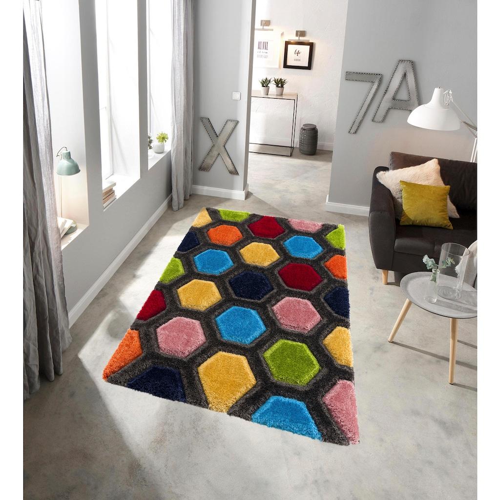 my home Hochflor-Teppich »Bras«, rechteckig, 43 mm Höhe, mit 3D Efeckt