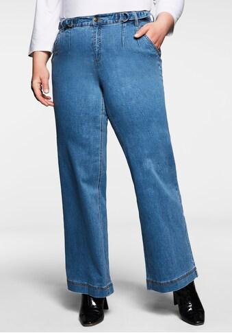 Sheego Stretch-Jeans, mit Kontrastnaht und Riegeln am Bund kaufen