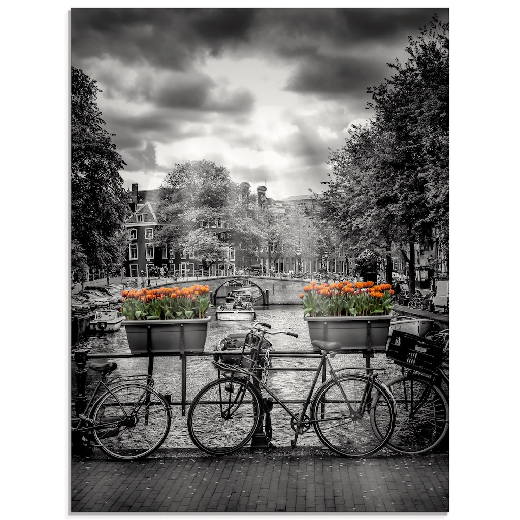 Artland Glasbild »Amsterdam Herengracht & Sonnenstrahlen«, Fahrräder, (1 St.)