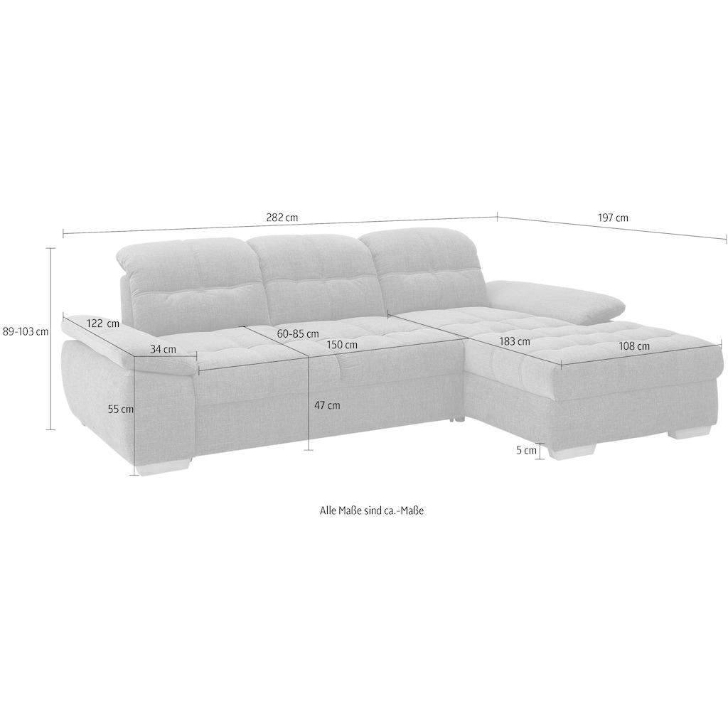 Home affaire Ecksofa »Lotus Home«, incl. Sitztiefenverstellung, wahlweise mit Kopfteil- und Armlehnverstellung, Bettfunktion und Bettkasten