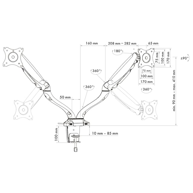 Schwaiger Monitor Tischhalterung für 2 Computer-Bildschirme »für Displays mit 33-74cm (13-29Zoll)«
