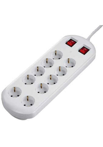 Hama Mehrfachsteckdose Steckdosenleiste 10 - fach, 2 Schalter »schaltbar, weiß« kaufen