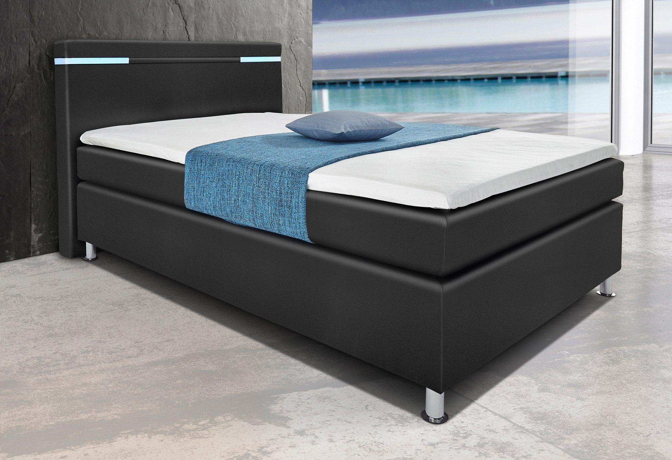 hapo Boxspringbett mit LED-RGB-Beleuchtung | Schlafzimmer > Betten > Boxspringbetten | Schwarz | Ab - Stoff - Polyester | HAPO