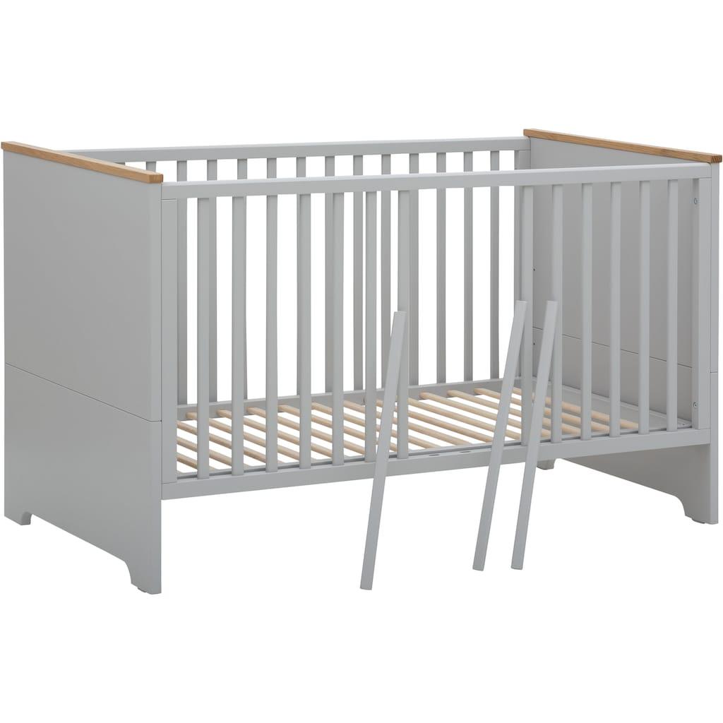 Lüttenhütt Baby Babyzimmer-Komplettset »Lauris, grau/eiche«, (Set, 3 tlg.), FSC®-Holz aus gewissenhaft bewirtschafteten Wäldern