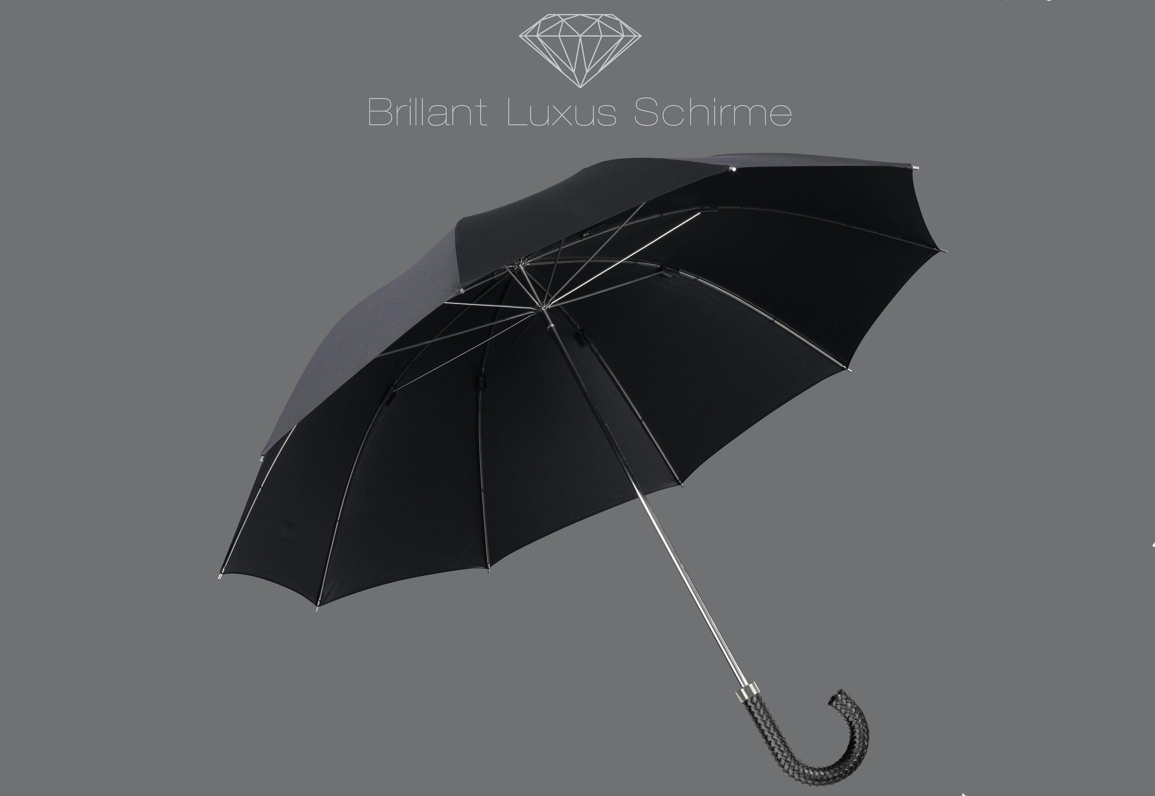 Euroschirm® Regenschirm mit Flechtleder-Griff, »Brillant Luxus Herrenschirm«   Accessoires > Regenschirme > Sonstige Regenschirme   Schwarz   EUROSCHIRM®
