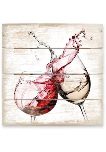 Wall - Art Holzbild »Weingläser Wandbild Küche« kaufen
