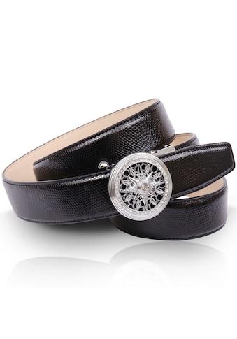 Anthoni Crown Ledergürtel, mit silberfarbener filigraner Automatik-Schließe, Ovaler... kaufen