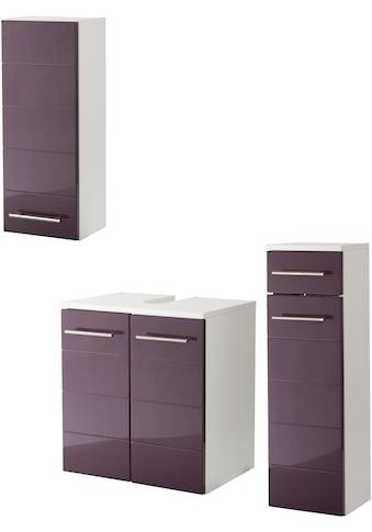 HELD MÖBEL Badmöbel-Set »Porto«, (3 St.), in 3 Farbvarianten, hochglanz Fronten kaufen