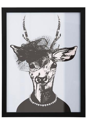 G&C Kunstdruck »Reh-Frau in stillvollen Abendmode«, gerahmt kaufen
