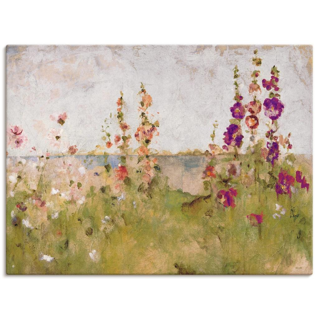 Artland Wandbild »Stockrosen am Meer«, Blumen, (1 St.), in vielen Größen & Produktarten -Leinwandbild, Poster, Wandaufkleber / Wandtattoo auch für Badezimmer geeignet