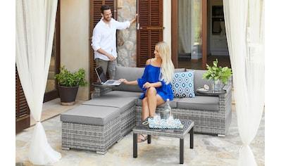 KONIFERA Loungeset »Ibiza«, (13 tlg.), 1x 3-er Sofa, 2 Hocker, Tisch 54x54 cm, Polyrattan kaufen