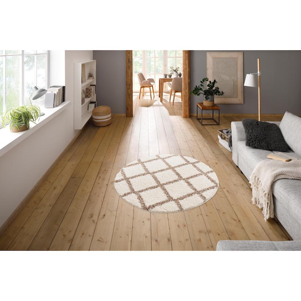 my home Hochflor-Teppich »Linz«, rund, 31 mm Höhe, Rauten Design