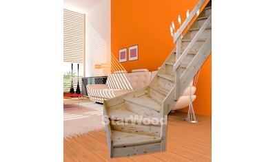 STARWOOD Raumspartreppe »Korfu«, geschl. Stufen, 1/4 rechts gewendelt, Holzgeländer rechts kaufen