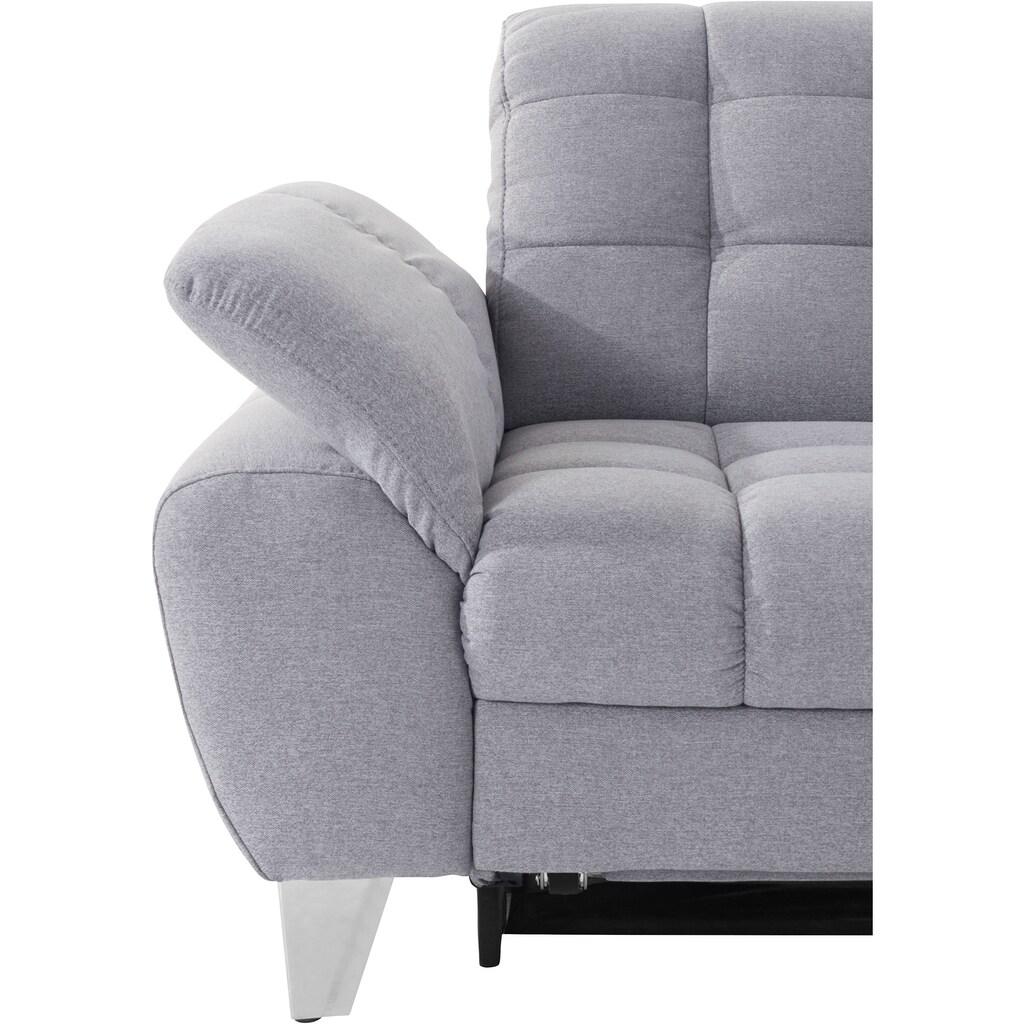 Places of Style Ecksofa »Bardi«, incl. Sitztiefenverstellung, wahlweise mit Kopfteil- und Armlehnverstellung, Bettfunktion und Bettkasten