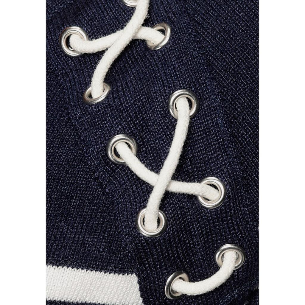 TOM TAILOR Polo Team Strickkleid, im maritimen Streifenlook mit kleiner Zier-Schnürung