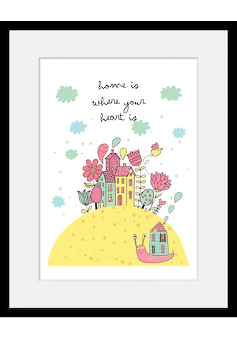 Home affaire Bild »Home is where your heart is«, mit Rahmen kaufen