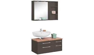 HELD MÖBEL Badmöbel-Set »Davos«, (3 tlg.), Spiegel inklusive Beleuchtung, Regal und Waschbeckenunterschrank kaufen