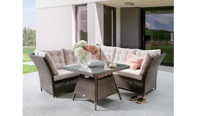 Destiny Gartenmöbelset »PALMA Dininglounge«, (3 tlg.), 1 Sitzecke, 1 Bank und 1 Tisch kaufen