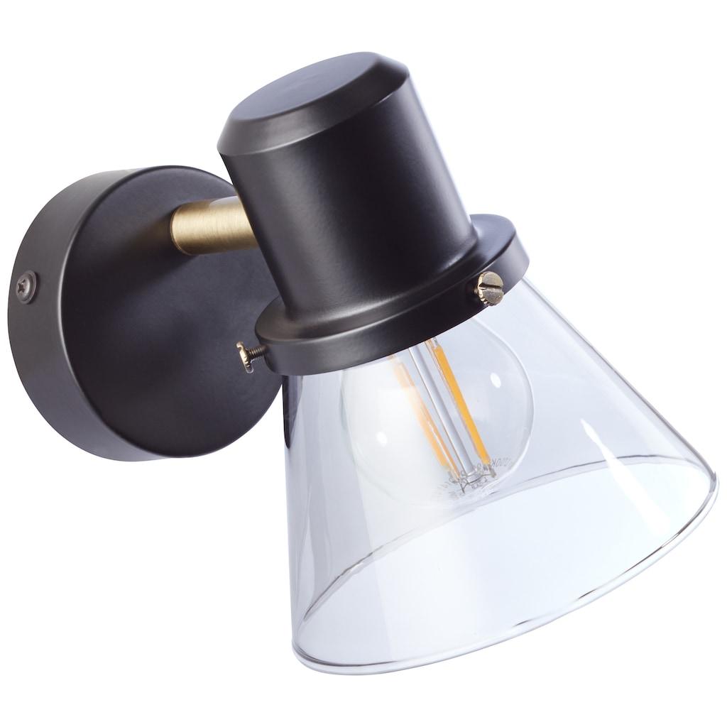 Brilliant Leuchten Ronald Wandspot schwarz/antik messing/Rauchglas