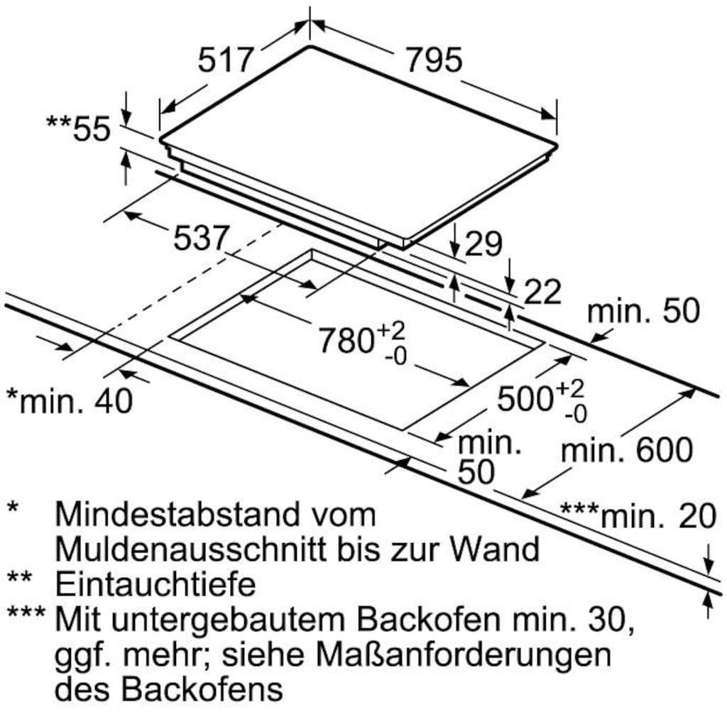 NEFF Flex-Induktions-Kochfeld von SCHOTT CERAN® »T48BD13N2«, T48BD13N2, mit TouchControl-Bedienung