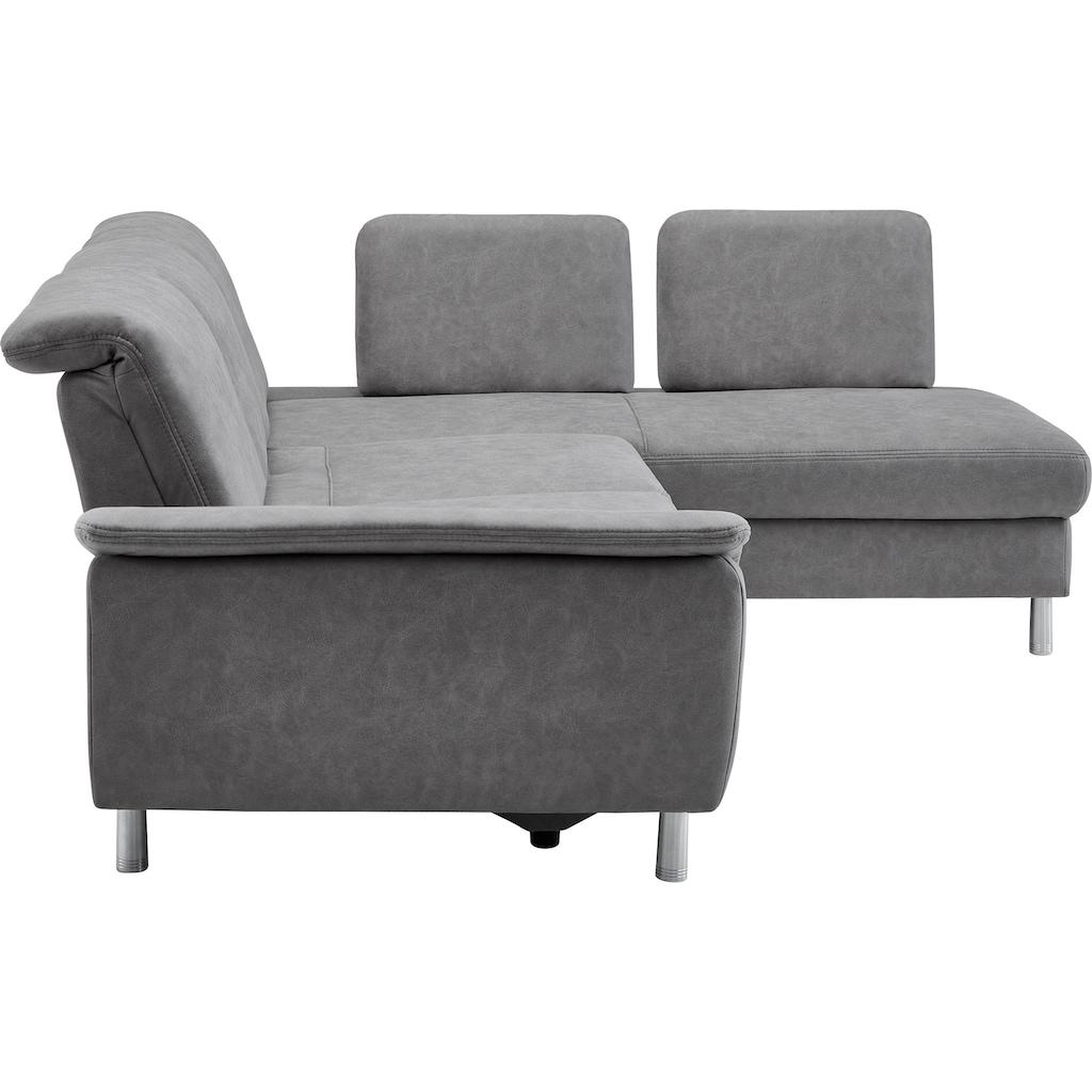 CALIZZA INTERIORS Ecksofa »Jade«, inklusive Kopfteilverstellung und Sitztiefenverstellung, wahlweise mit Bettfunktion und 2 Steckrücken