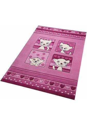 SMART KIDS Kinderteppich »Kitty Kat«, rechteckig, 10 mm Höhe, mit Katzenmotiv kaufen