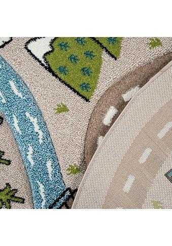 Paco Home Kinderteppich »Volta 320«, rund, 12 mm Höhe, Straßen-Spielteppich, Kinderzimmer kaufen
