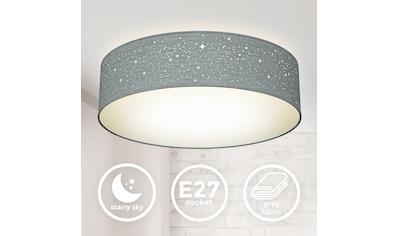 B.K.Licht Deckenleuchte, E27, 1 St., Textil-Sternenhimmel, Grau, Ø38cm, 2-flammig E27, Stoffdeckenleuchte rund, Schlafzimmerlampe, Textilschirm, ohne Leuchtmittel kaufen