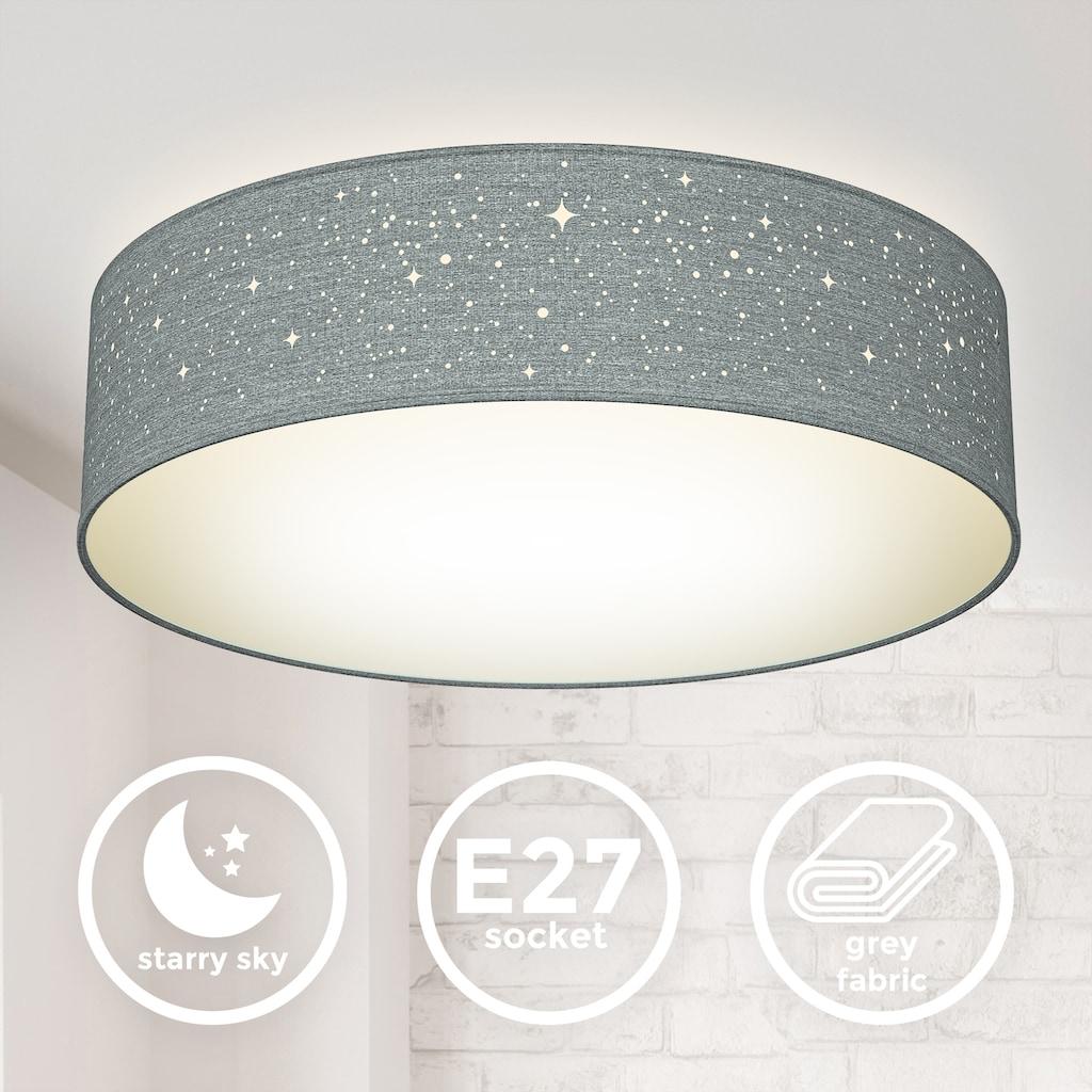 B.K.Licht Deckenleuchte, E27, 1 St., Textil-Sternenhimmel, Grau, Ø38cm, 2-flammig E27, Stoffdeckenleuchte rund, Schlafzimmerlampe, Textilschirm, ohne Leuchtmittel