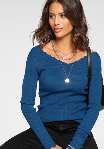 Laura Scott V-Ausschnitt-Pullover, mit welligen Halsausschnitt- und Ärmelsaumabschluss kaufen
