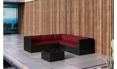 BAIDANI Loungeset »Surprise schwarz«, 17 - tlg., Ecksofa, Tisch 60x60 cm, Alu/Polyester kaufen