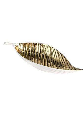 GILDE Dekoschale »Schale Sagrada, weiß/goldfarben«, Breite 40 cm, aus Keramik, Blattform, Wohnzimmer kaufen