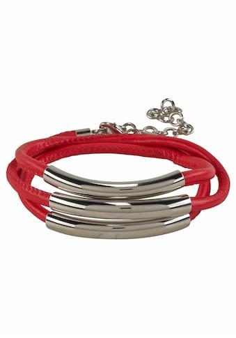 J.Jayz Wickelarmband »rot, mit Naht und 3 Metallelementen«, (1 tlg.) kaufen