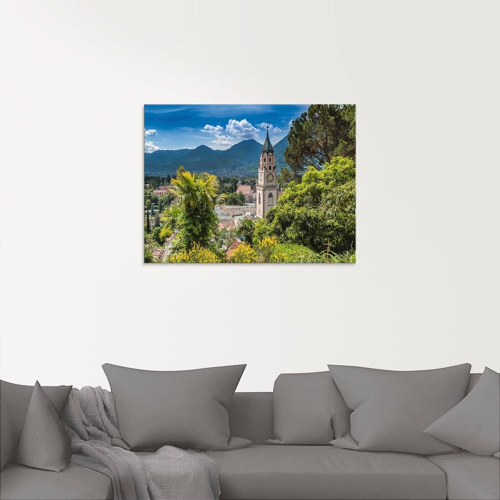Artland Glasbild »Meran Idyllischer Blick über die Stadt«, Europa, (1 St.)